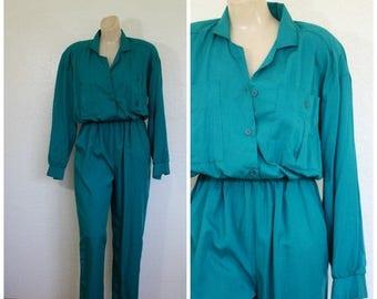 Sale Vintage Jumpsuit / Emerald Jumpsuit / 1980's Jumpsuit / 1980's Jumper / Sunbelt Jumpsuit