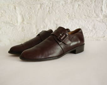 Vintage Brown Leather Oxfords / 1980s Pointy Toe Leather Flats /  Aye Matey Pirate Flats / Leather Buckle Oxfords 9N