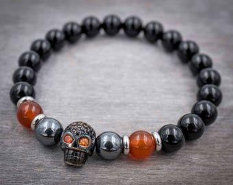 Mens beaded bracelet Skull bracelet men Black skull jewelry Mens bracelet Gift for Men Courage bracelet Black onyx, carnelian bracelet