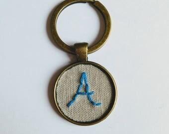 Letter Keyring, Hand Stitched Letter Keychain, Antique Bronze Keyring, Blue Letter A Fabric Keyring