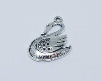 Silver Swan Charm