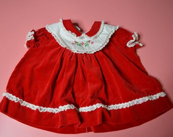 Vintage Red Velveteen Dress for Baby Girl Size 6-9 Months