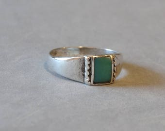 Vintage Turquoise Ring Sterling Silver Band Native American Navajo Indian Size 8.25 Southwest Jewelry