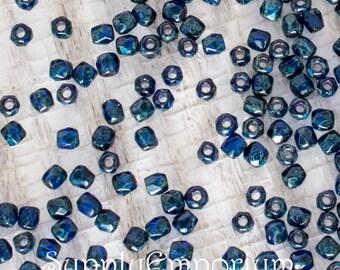 True2 2mm Cobalt Travertin Czech Glass Fire Polished Round Beads, 100 Beads, True 2mm Cobalt Travertine Firepolished Round Beads, 4707