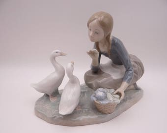 "Vintage Lladro Figurine ""Food for Ducks""  4849 - Girl Feeding Ducks"