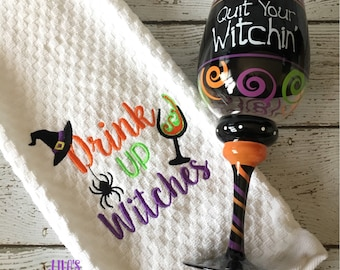 Drink Up Witches kitchen towel
