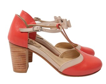 Loisa Coral - High Heel Sandal in coral and pick leather - Handmade in Argentina - Free shipping