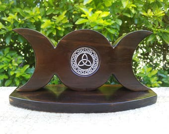Triple Moon made from Burnt Spruce with Triquetra, Altar Triple Moon, Triquetra, Moon, Spiritual Pagan Wicca Altar Moon Ornament
