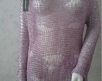 Purple hand knit sweater women's sweater knitting sweater women's knitting lunis cotton sweater.