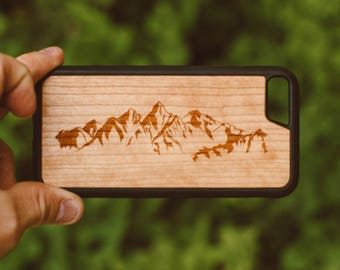 iPhone 7 Wood Case, Mountains Design Wood iPhone 7 Case, Gifts For Men, Mountains iPhone Case Wood