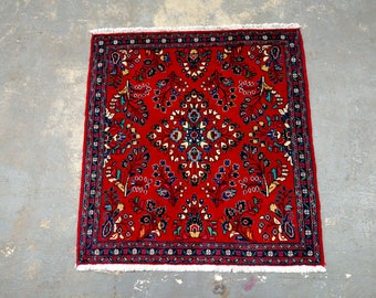 Persian Rug - Hand-Knotted 1990s Square Sarouk Rug (3678)