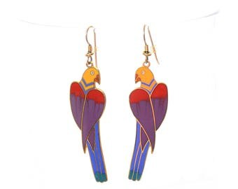 Vintage 80s Laurel Burch Cezanne Parrot Earrings 1980s Rainbow Cloisonne Enamel Gold Tone Drop Earrings Bird Figural Dangle Pierced Earrings