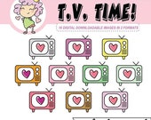 50%off TELEVISION Digital Clipart, t.v. time digital download, digital stickers for Goodnotes, clip art, crafting
