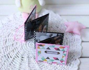 Book for photos Baby memory book Accordion photo album Leporello Personalized mini album  Pink black Baby girl scrapbook Baby birthday gift