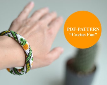 Bead Crochet Bracelet Pattern Cactus Jewelry Pattern Seed Beads Succulent Pattern for Bead Crochet Bracelet Beaded Bracelet Pattern