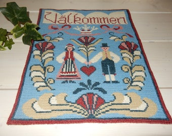 Swedish hand embroidered wall hanging 1970 s /  welcome