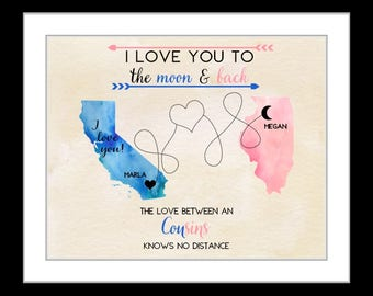 Cousin, long distance family map, customized gift for cousins, sisters, friends, moving away, canvas art, teen girls