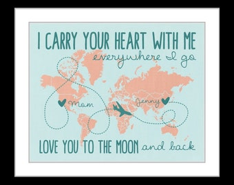Birthday gift for mom, personalized present for mother, long distance gift idea, mother-daughter quote, family gift, us map print