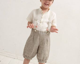 Boys knickers Ring bearer pants Suspender pants Wedding party outfit Family photo prop Boys linen knickers Page boy pants Linen Suspenders