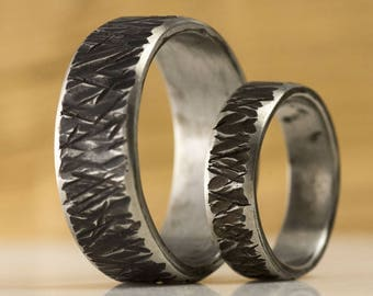 TEXTURED Wedding band, Rustic HANDMADE Stainless steel mens or womens ring, male engagement ring, unique band for him, her - Strukt line