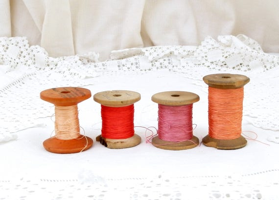4 Antique French Wooden Reels of Different Tones of Pink / Red Silk Thread, French Country Decor, Vintage Haberdashery Craft Sewing Supplies