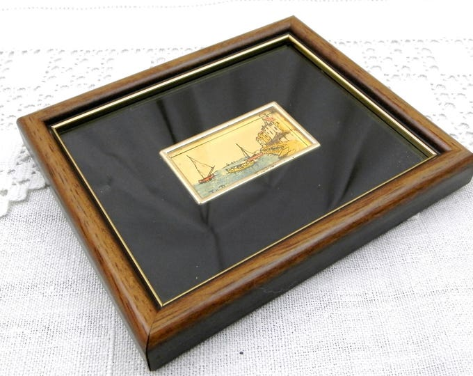 Small Vintage Framed Picture of Mediterranean Sea Scape with Fishing Boats Hand Painted on Gold Leaf Signed by the Artist, French Painting