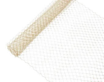 """1 Yard x 10"""" Tan Russian Millinery Birdcage Veil Netting - Available in 17 Colors"""