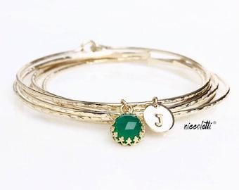 May Birthstone Charm Bracelet / Personalized Emerald Green Gemstone Charm Bangle / Genuine Green Onyx / New Mother Gift / May Birthday Gift