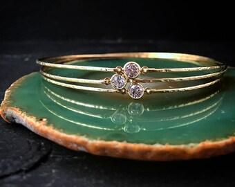 Delicate Diamond Alternative Bangle / Gold Stacking Bangle / Dainty 14k Gold Bangle / Diamond Solitaire CZ Bracelet / April Birthstone