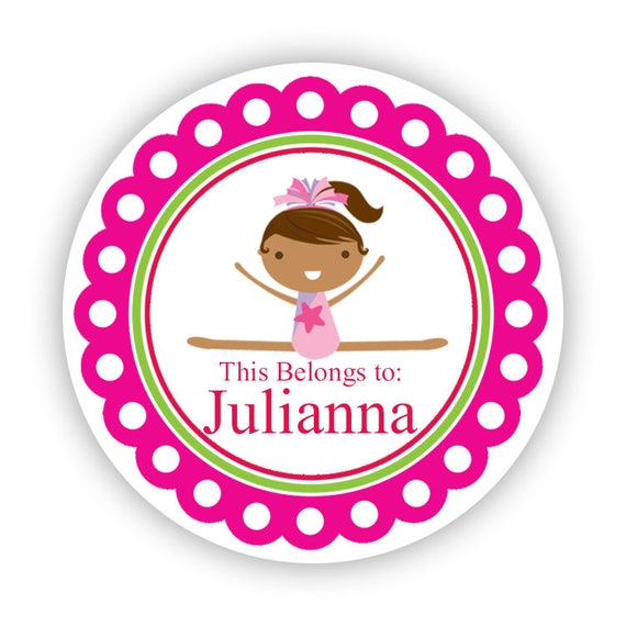 Gymnastic Stickers - Pink Red Purple, Girl Gymnastic Name Label Stickers, Gymnast Personalized Birthday Party Stickers - Back to School Tags
