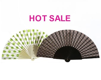 SALE: a set of 2 designer hand fans POLKA DOTS, retro style, summer fashion accessory, gift for mom, unique gift, Free Shipping Worldwide