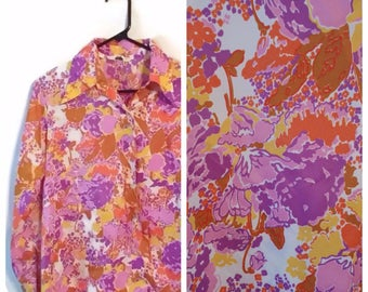 Vintage Purple Flowered Shirt top size XL 1960s 70s floral