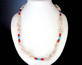 Braided Sea Shell Necklace Natural Tiny Sea Shells & Red and Blue Glass Beads 19 Inches