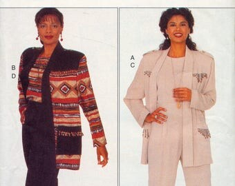 Vintage ladies sewing pattern - Anthony Mark Hankins for Butterick- Jacket, top and pants suit - sizes 14-16-18 plus size