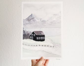 Iceland - Watercolour Print - Iceland Watercolour - Iceland Painting - Mountain Watercolour - Scenic Watercolour - Landscape Print