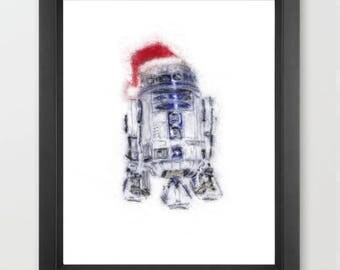 R2D2 with Santa Hat INSTANT DOWNLOAD, Star Wars, Digital Art, Christmas, movies, art, character art, cartoon, geeky gift, downloadable