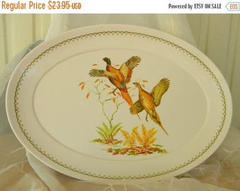 Summer Sale Large Melamine Pheasants Platter,Vintage Item, Great for Serving Meats, Ham, Turkey, Holiday Meals
