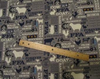 Gray FFA Phrases/Farm Animal Riley Blake  Cotton Fabric by the Yard