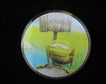 "BROOCH ""My prince charming"" set in resin on a nickel pin backing - diameter 30 mm"