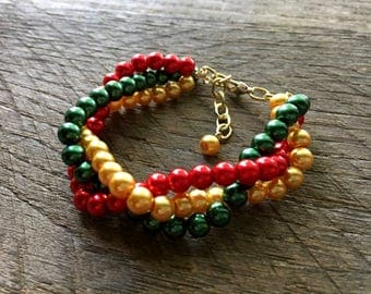 Gold Christmas Bracelet, Christmas Jewelry, Red Green Gold Bracelet, Multi Strand Bracelet, Xmas Bracelet, Xmas Jewelry on Gold Chain