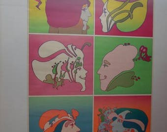 """1970's Peter Max /American Cancer Society Poster-""""Don't Smoke"""""""