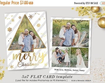 ON SALE Christmas Card Template, 5x7 in Holiday Card Adobe Photoshop psd Template, sku xm16-1