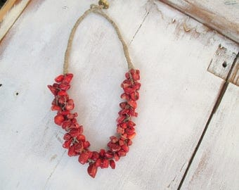 Red Coral Bib Necklace, Linen macrame Necklace, Bib Statement Necklace, OOAK, Linen Necklace, Raw Coral Necklace, Coral Linen Necklace, OOAK