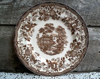 Brown China Plate, Clarice Cliff, Brown Transferware, Tonquin, Staffordshire Plate, Serving, Old Dishes, Floral Plate, Asian Plate