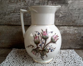 Large Ironstone Floral Basin Pitcher ~ W M & CO, Water Pitcher