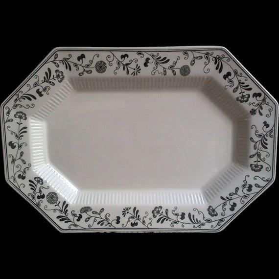 Vintage Black and White, Independence Ironstone, Platter, Millbrook Pattern, Serving, Octagon, Entertaining Platter