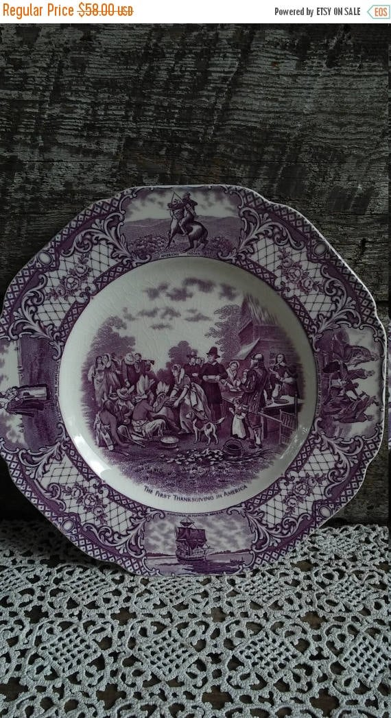 "SALE Purple Transferware Plate, ""First Thanksgiving In America"", Crown Ducal Colonial Times, 10"", Pilgrims, Indians, Purple Transferware,"