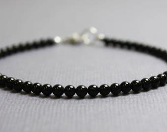 Onyx Bracelet, 3mm Black Onyx Bracelet with Sterling Silver Clasp,Black Bracelet, Onyx Jewelry, Black Bead Bracelet, Kathy Bankston,Bracelet