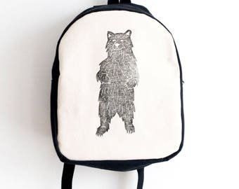 Sale! Toddler backpack, Bear print, Block printed, Hand stamped, Kid's backpack