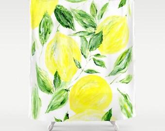 Lemon Shower Curtain, leaf curtain, leaf shower curtain, palm shower curtain, botanical curtain
